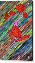 Heart Made Of Roses Acrylic Print by Pierre Louis