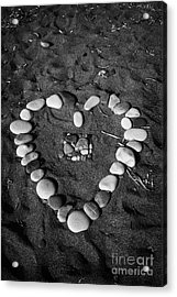 Heart Symbol Made Out Of Pebbles On The Beach At Aphrodites Rock Petra Tou Romiou Cyprus Acrylic Print by Joe Fox