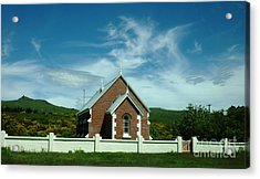 Heavenly Sky With Church Acrylic Print by Therese Alcorn