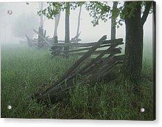 Heavy Fog Hangs Over Split Rail Fences Acrylic Print by Stephen St. John