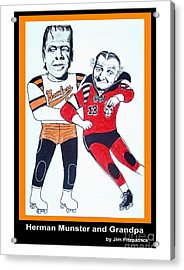 Herman And Grandpa Munster Playing Roller Derby Acrylic Print by Jim Fitzpatrick