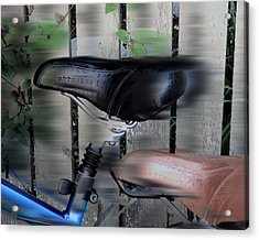 Hey Wait For Us Bicycles Acrylic Print by Rene Crystal