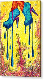High Heels Abstraction Dripping Acrylic Print by Pierre Louis