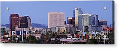 High Rise Buildings Of Downtown Phoenix At Sunrise Acrylic Print by Jeremy Woodhouse