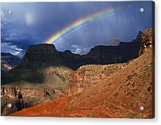 Hikers And Rainbow Kaibab Trail, Grand Acrylic Print by Ralph Lee Hopkins