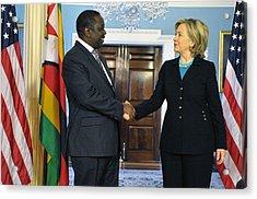 Hillary Clinton Shakes Hands Acrylic Print by Everett