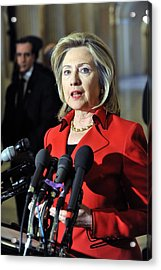 Hillary Clinton Speaking To The Press Acrylic Print by Everett
