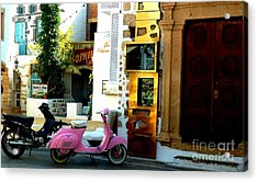 His And Hers Vespas At The Gallery Acrylic Print by Therese Alcorn