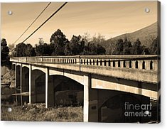 Historic Niles District In California Near Fremont . Bridge Into Niles District . 7d10596 . Sepia Acrylic Print by Wingsdomain Art and Photography