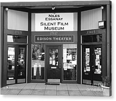 Historic Niles District In California Near Fremont . Niles Essanay Silent Film Museum . 7d10684 Bw Acrylic Print by Wingsdomain Art and Photography