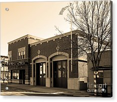 Historic Niles District In California Near Fremont . Niles Fire Station Number 2 . 7d10732 . Sepia Acrylic Print by Wingsdomain Art and Photography