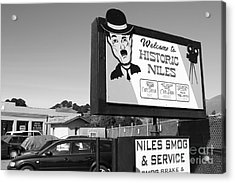 Historic Niles District In California Near Fremont . Welcome To Niles Sign . 7d10603 . Bw Acrylic Print by Wingsdomain Art and Photography