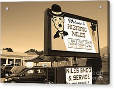 Historic Niles District In California Near Fremont . Welcome To Niles Sign . 7d10603 . Sepia Acrylic Print by Wingsdomain Art and Photography