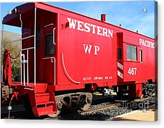 Historic Niles District In California Near Fremont . Western Pacific Caboose Train . 7d10627 Acrylic Print by Wingsdomain Art and Photography