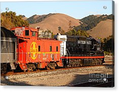 Historic Niles Trains In California . Old Southern Pacific Locomotive And Sante Fe Caboose . 7d10843 Acrylic Print by Wingsdomain Art and Photography