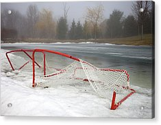 Hockey Net On Frozen Pond Acrylic Print by Perry McKenna Photography