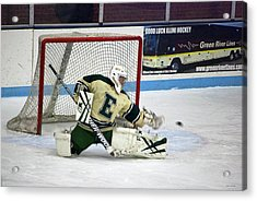 Hockey The Big Reach Acrylic Print by Thomas Woolworth