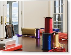 Holiday Ribbon On Table Acrylic Print by Andersen Ross