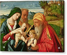 Holy Family With St. Simeon And John The Baptist Acrylic Print by Francesco Rizzi da Santacroce