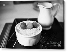 Home Made Apple Crumble Dessert With Grapes Served In A Gastro Pub Scotland Uk Acrylic Print by Joe Fox