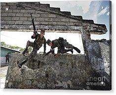 Honduran Army Soldiers Perform Building Acrylic Print by Stocktrek Images
