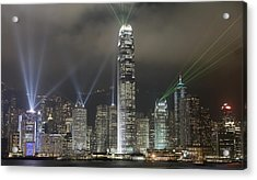 Hong Kong Light Show, At Night, Over Acrylic Print by Axiom Photographic