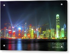 Hong Kong Night Lights Acrylic Print by Bibhash Chaudhuri