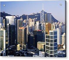 Hong Kong Skyline At Sunrise Acrylic Print by Jeremy Woodhouse
