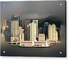 Buildings Acrylic Print featuring the photograph Hong Kong Waterline by Roberto Alamino