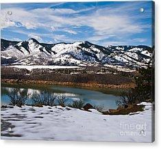 Horsetooth Reservoir Winter Scene Acrylic Print by Harry Strharsky