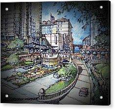 Hotel Plaza Acrylic Print by Andrew Drozdowicz