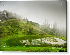 House And Fog Acrylic Print by Syed Aqueel