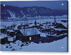 Houses In The Snow At Dusk Acrylic Print by Dean Conger