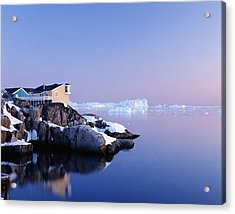 Houses On The Coastline With Icebergs Acrylic Print by Axiom Photographic