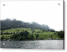 Houses On The Greenery Of The Slope Of A Mountain Next To Lake Lucerne Acrylic Print by Ashish Agarwal