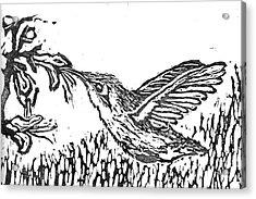 Hummingbird  Block Print Acrylic Print by Ellen Miffitt