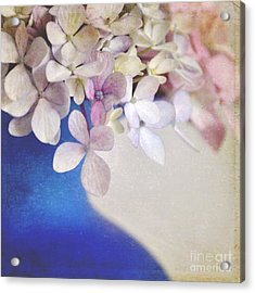 Hydrangeas In Deep Blue Vase Acrylic Print by Lyn Randle