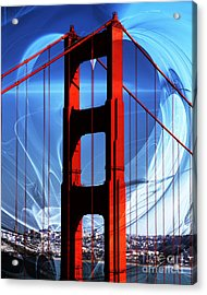 I Left My Heart In San Francisco . Golden Gate Bridge Acrylic Print by Wingsdomain Art and Photography