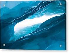 Ice Cave On The Glacier Acrylic Print by John White