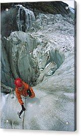 Ice Climber On Steep Ice In Fox Glacier Acrylic Print by Colin Monteath