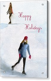 Ice Skaters Holiday Card Acrylic Print by Beverly Brown
