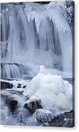 Icy Winter Waterfall Acrylic Print by John Stephens