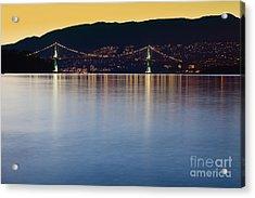 Illuminated Bridge Across A Bay Acrylic Print by Bryan Mullennix