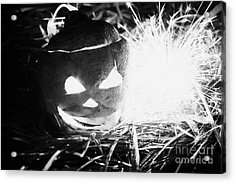Illuminated Halloween Turnip Jack-o-lantern With Sparkler To Ward Off Evil Spirits Acrylic Print by Joe Fox