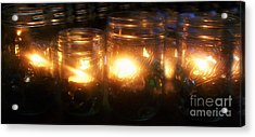 Illuminated Mason Jars Acrylic Print by Christy Beal