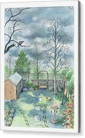 Illustration Of A Dark Clouds Over A Garden Acrylic Print by Dorling Kindersley