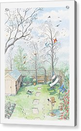 Illustration Of A Garden As A Storm Is Developing Acrylic Print by Dorling Kindersley