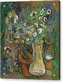 Impression Of Flowers Vase Acrylic Print by Rachel Hershkovitz