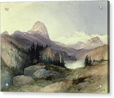 Snow Scenes In Watercolors Acrylic Print featuring the painting In The Bighorn Mountains by Thomas Moran