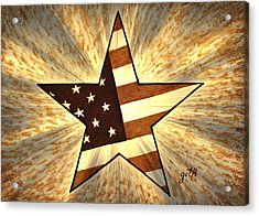 Independence Day Stary American Flag Acrylic Print by Georgeta  Blanaru
